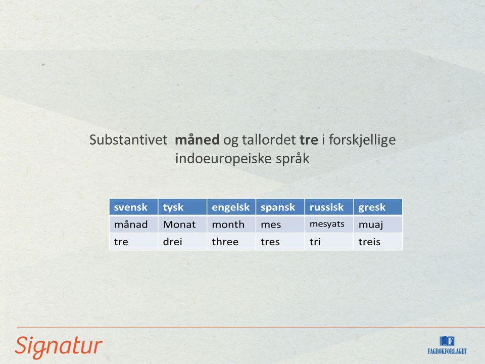 Substantivet måned og tallordet tre i forskjellige indoeuropeiske språk