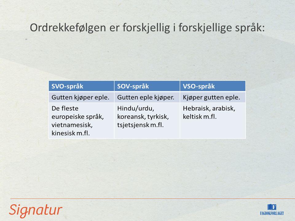 Ordrekkefølgen er forskjellig i forskjellige språk: