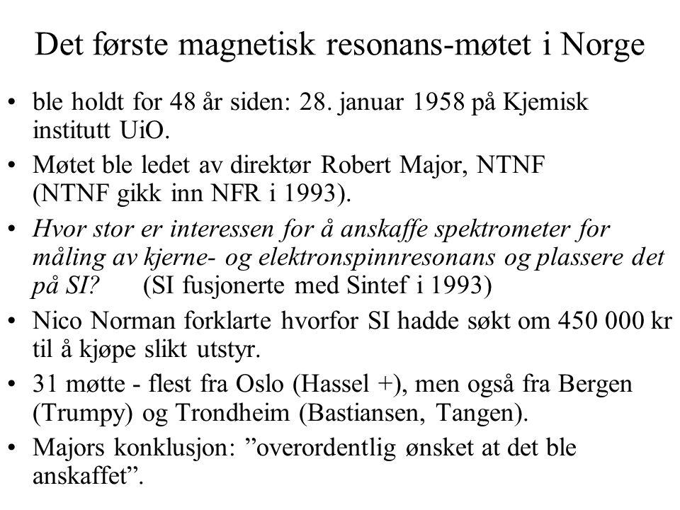 Initiativ fra SI Normans prøveforelesning i 1956: En kortfattet oversikt over kjernespinn- og elektronspinn-resonans og deres anvendelse i strukturforskningen.