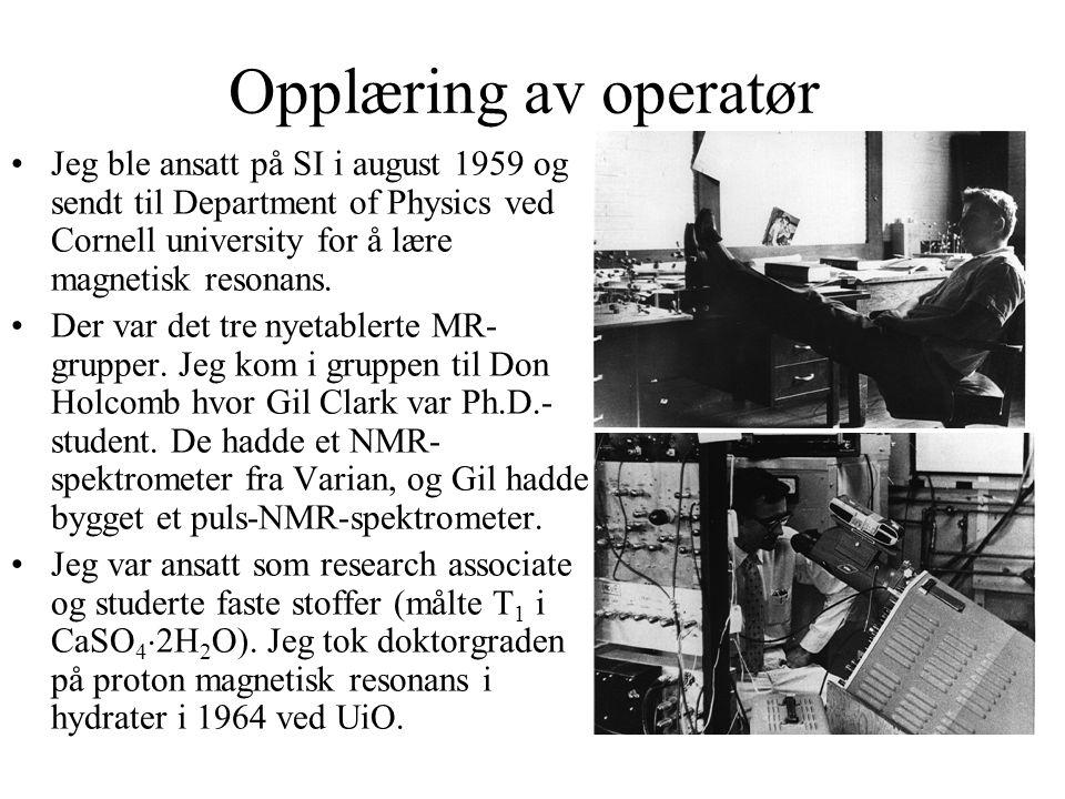 Laboratoriet åpnet i september 1960 NTNF bevilget 560 kkr i 1959/1960 til et Dual purpose 60 MHz NMR-spektrometer med en 12 -magnet og et 9.1 GHz ESR-spektrometer med en 6 -magnet.