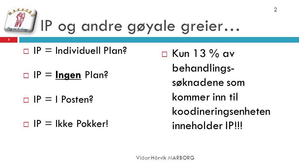 IP og andre gøyale greier…  IP = Individuell Plan?  IP = Ingen Plan?  IP = I Posten?  IP = Ikke Pokker!  Kun 13 % av behandlings- søknadene som k
