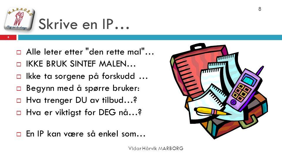 Skrive en IP…  Alle leter etter den rette mal …  IKKE BRUK SINTEF MALEN…  Ikke ta sorgene på forskudd …  Begynn med å spørre bruker:  Hva trenger DU av tilbud….