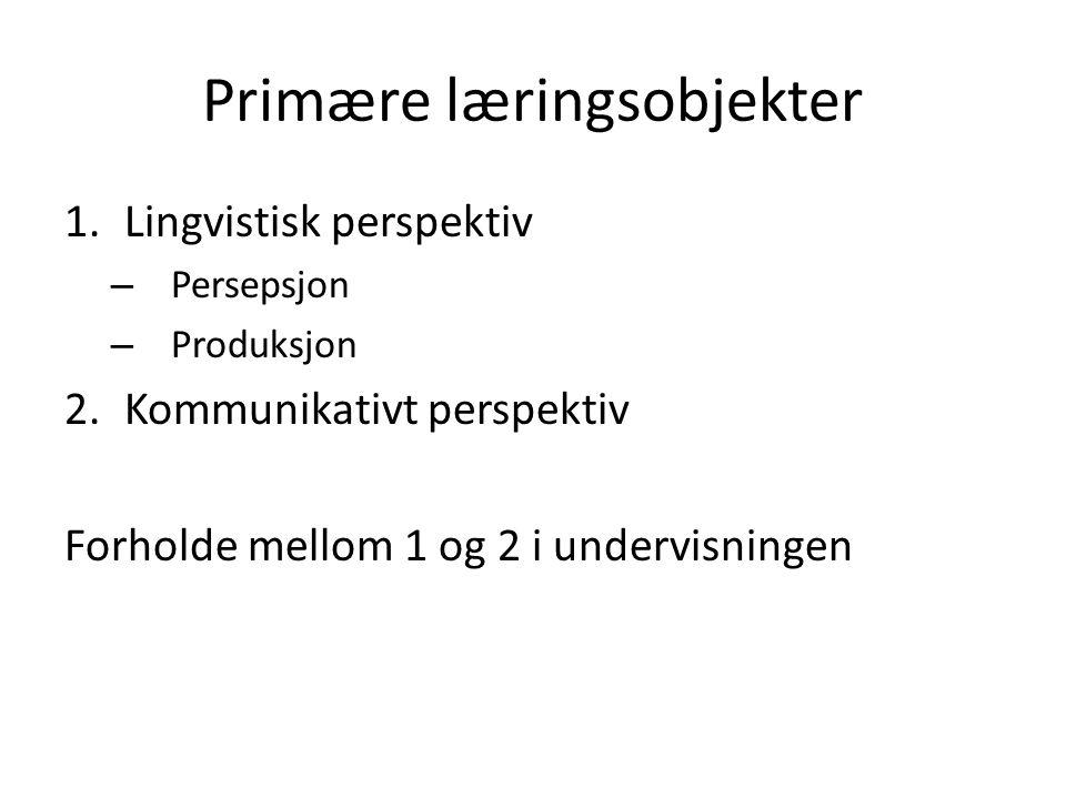 Primære læringsobjekter 1.Lingvistisk perspektiv – Persepsjon – Produksjon 2.Kommunikativt perspektiv Forholde mellom 1 og 2 i undervisningen