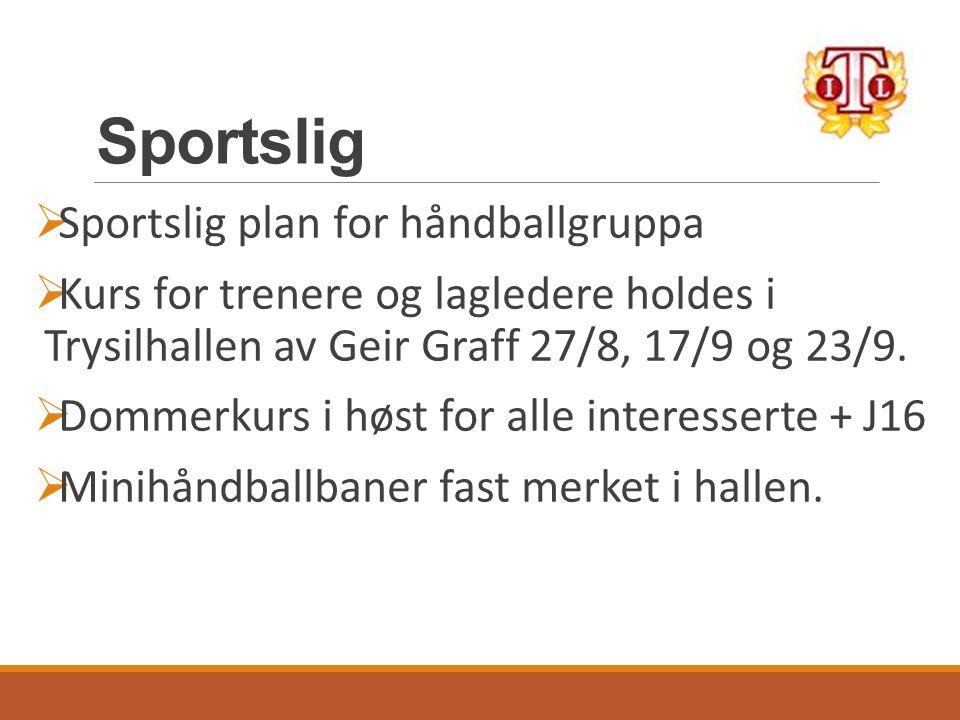 Sportslig  Sportslig plan for håndballgruppa  Kurs for trenere og lagledere holdes i Trysilhallen av Geir Graff 27/8, 17/9 og 23/9.