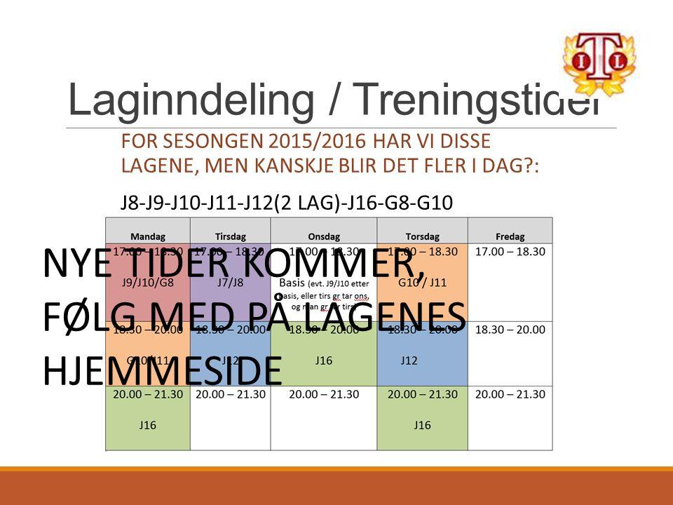 Laginndeling / Treningstider FOR SESONGEN 2015/2016 HAR VI DISSE LAGENE, MEN KANSKJE BLIR DET FLER I DAG : J8-J9-J10-J11-J12(2 LAG)-J16-G8-G10 NYE TIDER KOMMER, FØLG MED PÅ LAGENES HJEMMESIDE