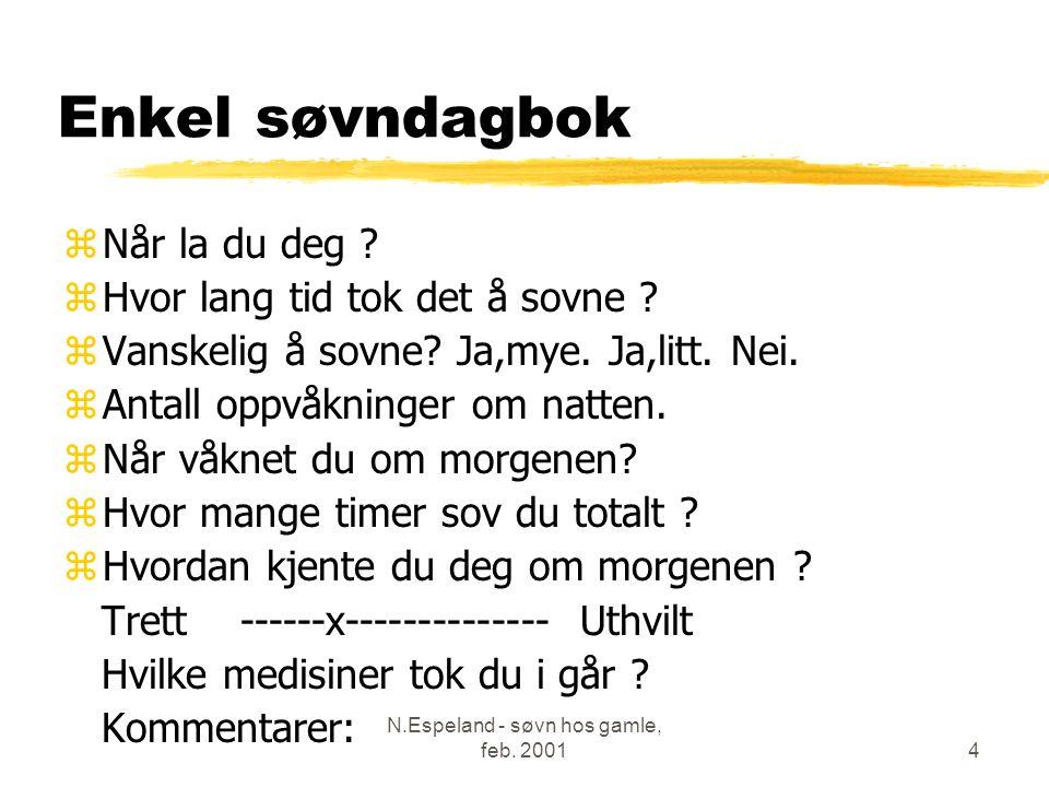 N.Espeland - søvn hos gamle, feb. 20014 Enkel søvndagbok zNår la du deg .