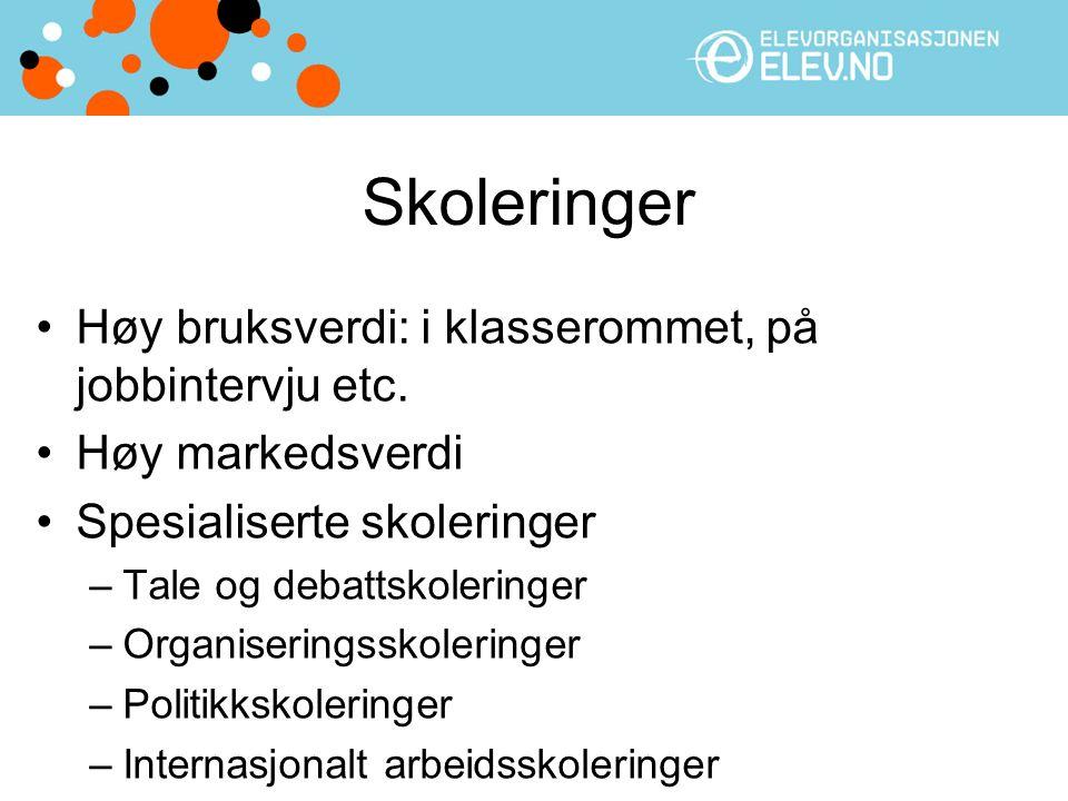 Skoleringer Høy bruksverdi: i klasserommet, på jobbintervju etc.