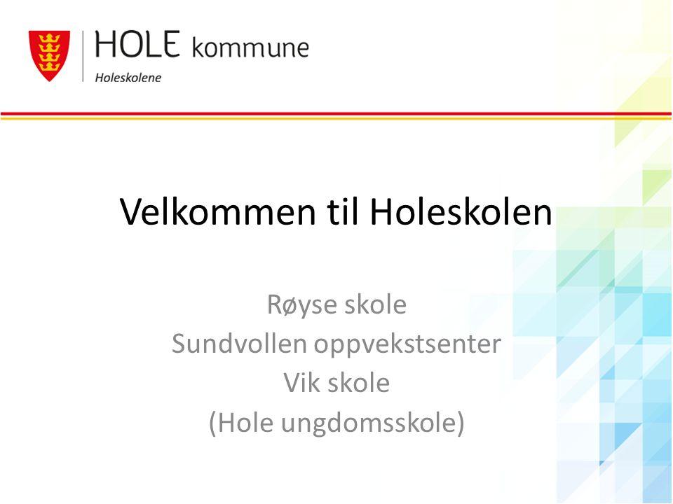 Velkommen til Holeskolen Røyse skole Sundvollen oppvekstsenter Vik skole (Hole ungdomsskole)