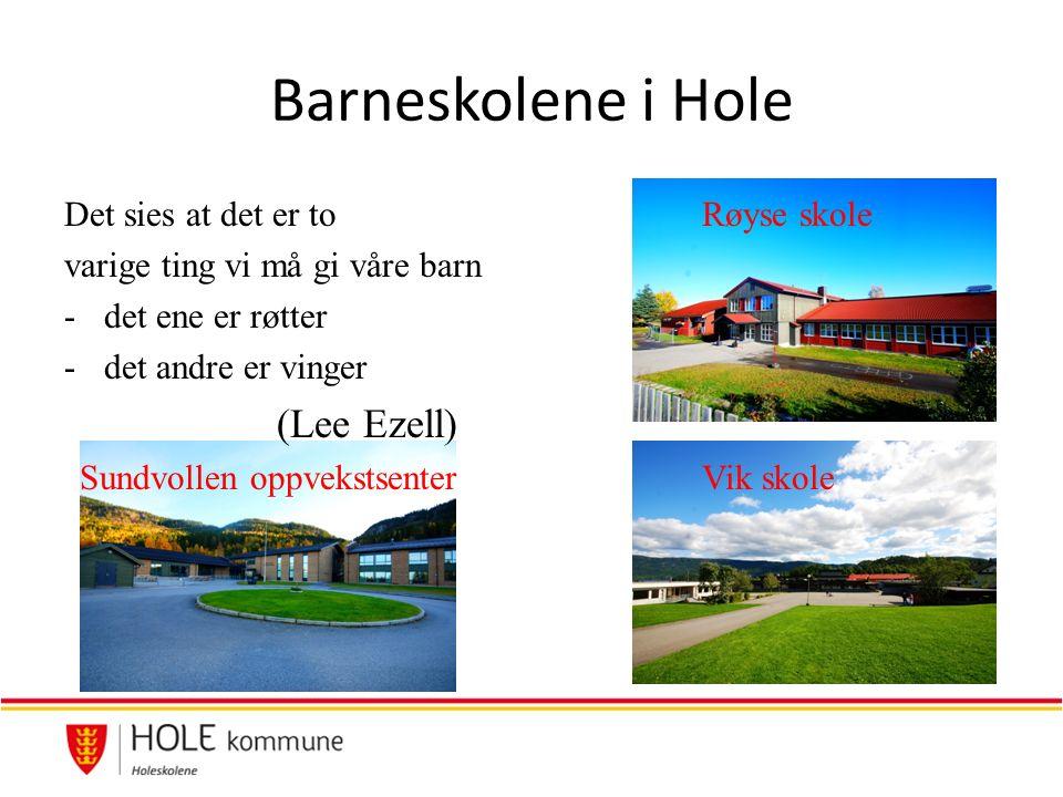 Barneskolene i Hole Det sies at det er toRøyse skole varige ting vi må gi våre barn -det ene er røtter -det andre er vinger (Lee Ezell) Sundvollen oppvekstsenterVik skole