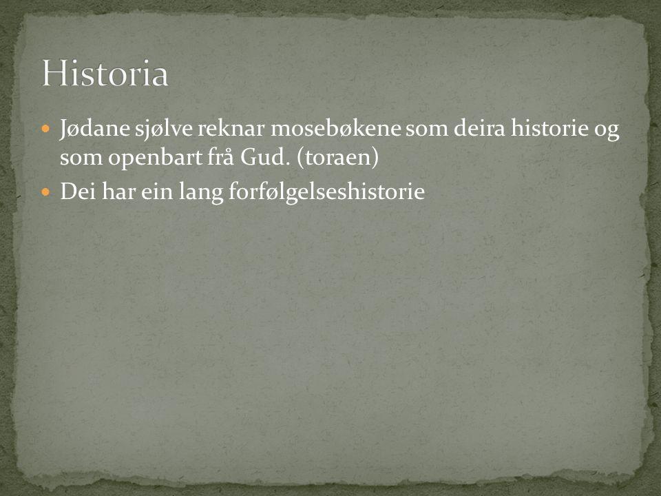 Jødane sjølve reknar mosebøkene som deira historie og som openbart frå Gud. (toraen) Dei har ein lang forfølgelseshistorie