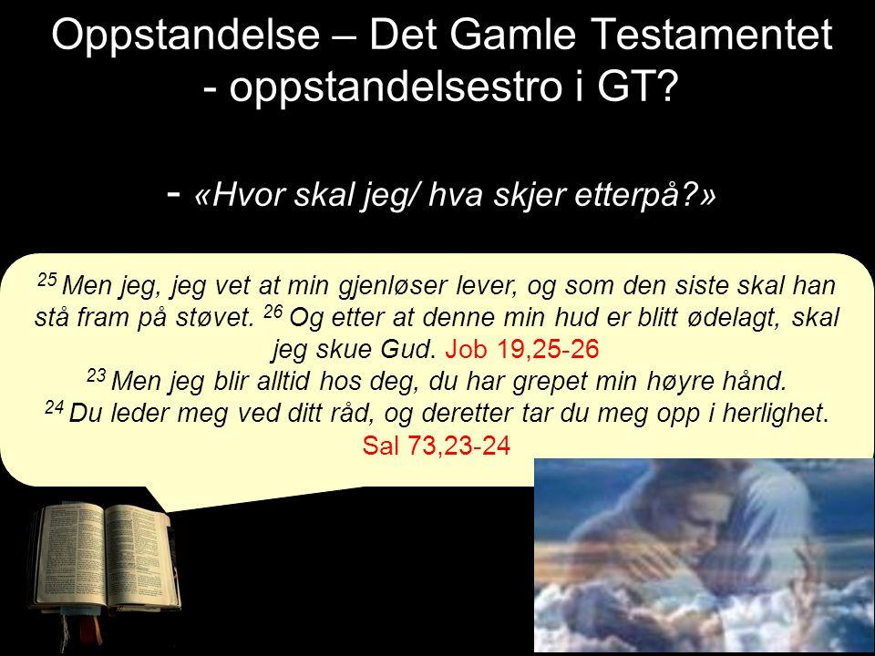 Oppstandelse – Det Gamle Testamentet - oppstandelsestro i GT? - «Hvor skal jeg/ hva skjer etterpå?» 25 Men jeg, jeg vet at min gjenløser lever, og som