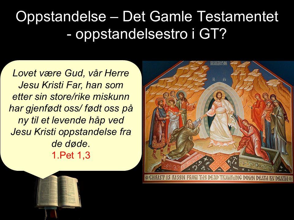 Oppstandelse – Det Gamle Testamentet - oppstandelsestro i GT? Lovet være Gud, vår Herre Jesu Kristi Far, han som etter sin store/rike miskunn har gjen