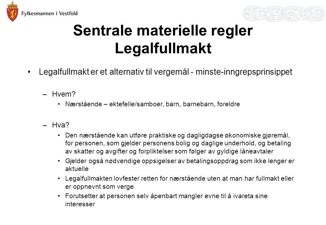 Sentrale materielle regler Legalfullmakt Legalfullmakt er et alternativ til vergemål - minste-inngrepsprinsippet –Hvem.