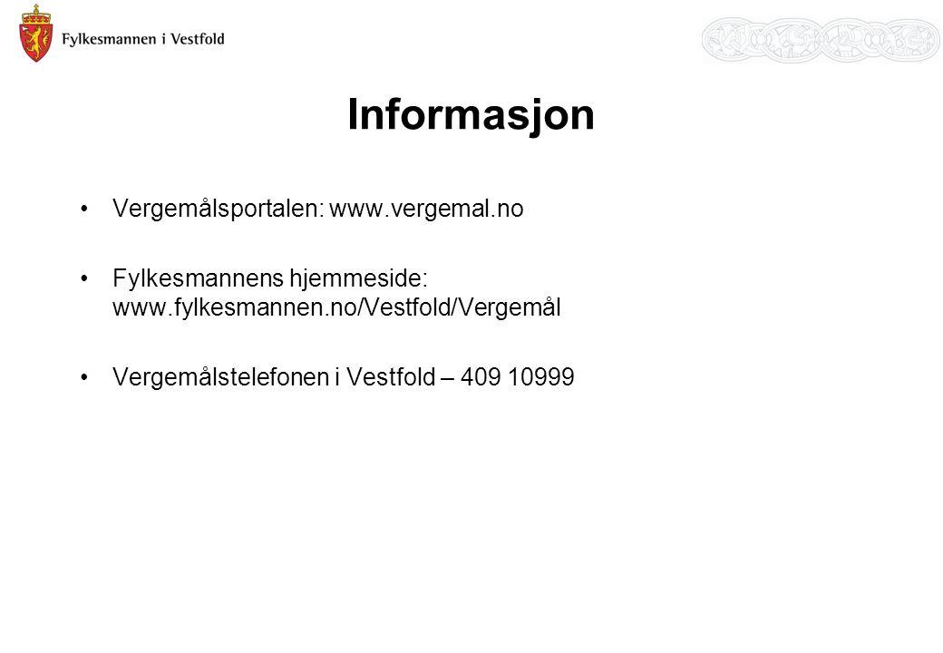 Informasjon Vergemålsportalen: www.vergemal.no Fylkesmannens hjemmeside: www.fylkesmannen.no/Vestfold/Vergemål Vergemålstelefonen i Vestfold – 409 10999