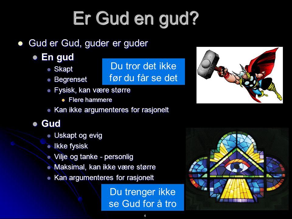 4 Er Gud en gud? Gud er Gud, guder er guder Gud er Gud, guder er guder En gud En gud Skapt Skapt Begrenset Begrenset Fysisk, kan være større Fysisk, k
