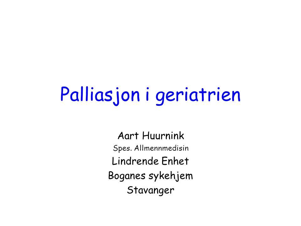 disposisjon Hva er palliasjon Erfaringer fra Lindrende Enhet, Boganes sykehjem Palliasjon i geriatrien –Kartlegging av symptomer –Symptomlindring –Prognose: –Palliasjon i terminalfasen Utfordringer