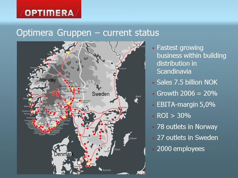 Some key figures: Optimera Norway Sweden Customer segments:  Consumer33%30%  National contractors14%13%  Regional 26%14%  Local 8%24%  Industry – wholesale19%19%