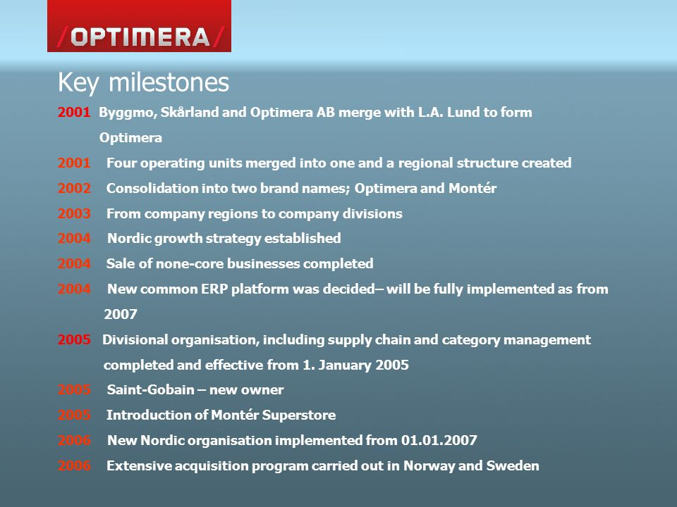 Key milestones 2001 Byggmo, Skårland and Optimera AB merge with L.A.