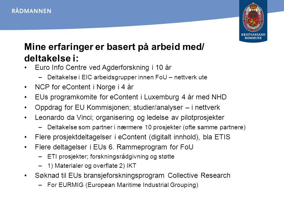 Mine erfaringer er basert på arbeid med/ deltakelse i: Euro Info Centre ved Agderforskning i 10 år –Deltakelse i EIC arbeidsgrupper innen FoU – nettve