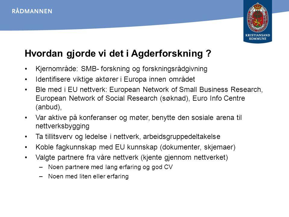 Hvordan gjorde vi det i Agderforskning ? Kjernområde: SMB- forskning og forskningsrådgivning Identifisere viktige aktører i Europa innen området Ble m
