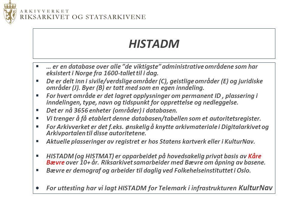 """ … er en database over alle """"de viktigste"""" administrative områdene som har eksistert i Norge fra 1600-tallet til i dag.  De er delt inn i sivile/ver"""