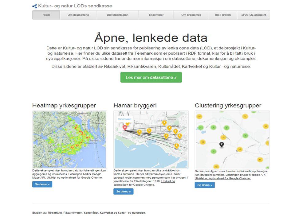  Utforskende  http://lod.riksarkivet.no  8 datasett Konvertert til rdf Beriket med geodata  Utviklet enkle demonstratorer  Endepunkt – sparql  Nettside med fritekstsøk og navigering LÅD - sandkasse