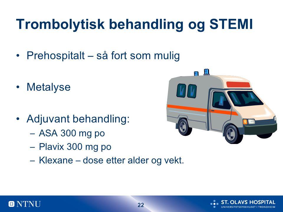 22 Trombolytisk behandling og STEMI Prehospitalt – så fort som mulig Metalyse Adjuvant behandling: –ASA 300 mg po –Plavix 300 mg po –Klexane – dose et