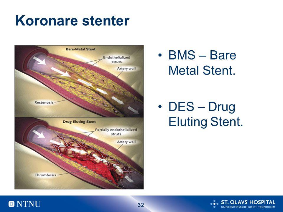 32 Koronare stenter BMS – Bare Metal Stent. DES – Drug Eluting Stent.