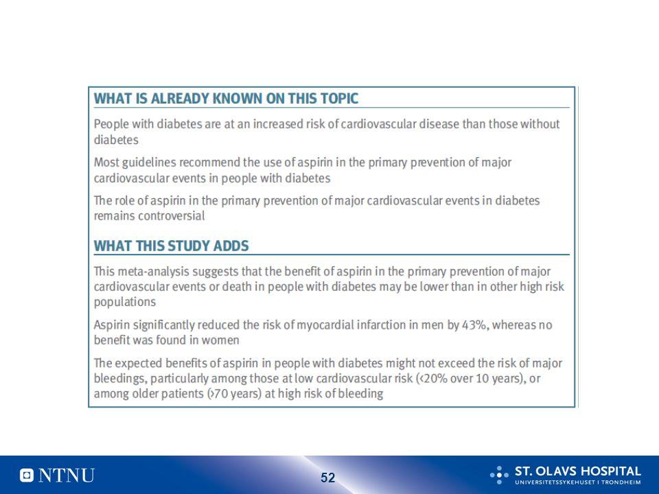 53 Bivirkninger ASA: Økt blødningstendens.