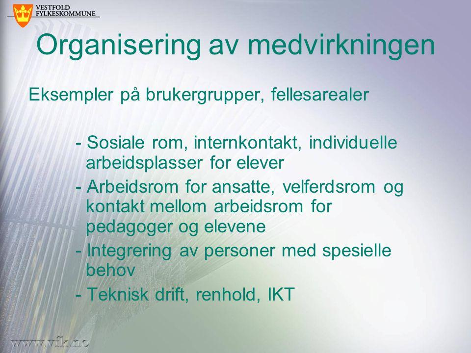 Organisering av medvirkningen Eksempler på brukergrupper, fellesarealer - Sosiale rom, internkontakt, individuelle arbeidsplasser for elever - Arbeids