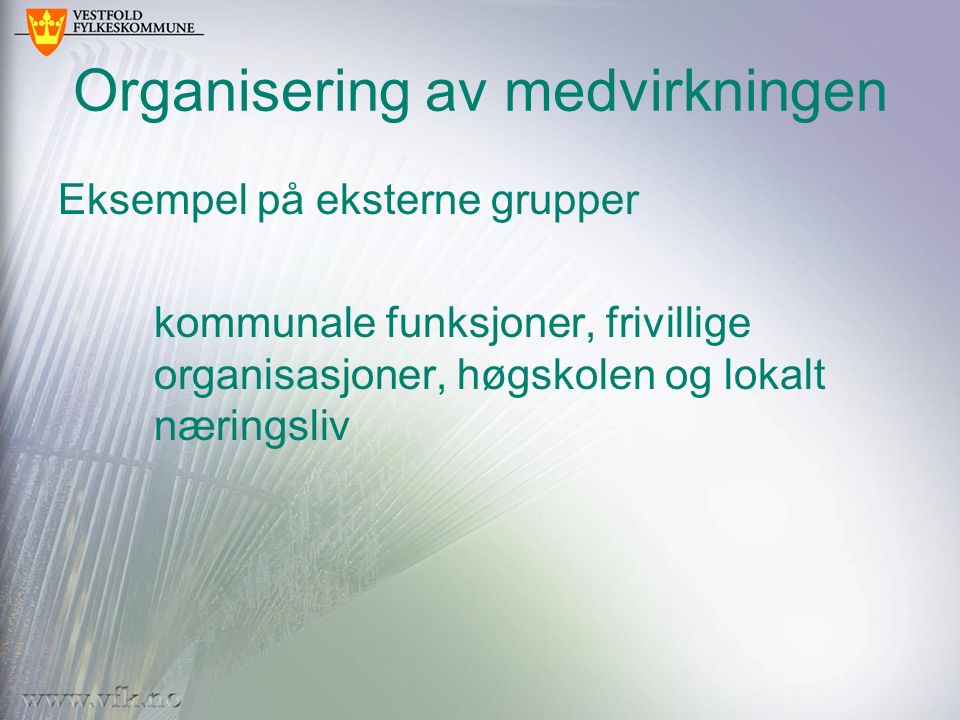 Organisering av medvirkningen Eksempel på eksterne grupper kommunale funksjoner, frivillige organisasjoner, høgskolen og lokalt næringsliv