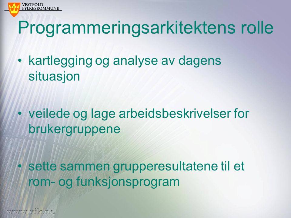Programmeringsarkitektens rolle kartlegging og analyse av dagens situasjon veilede og lage arbeidsbeskrivelser for brukergruppene sette sammen grupper