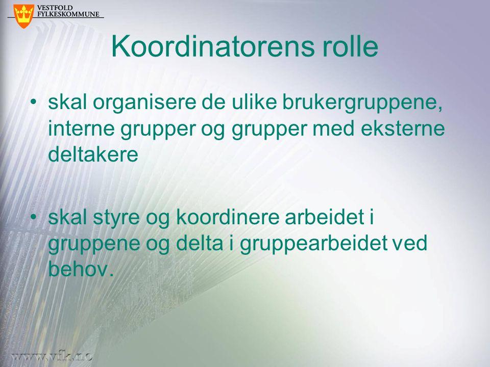 Koordinatorens rolle skal organisere de ulike brukergruppene, interne grupper og grupper med eksterne deltakere skal styre og koordinere arbeidet i gr