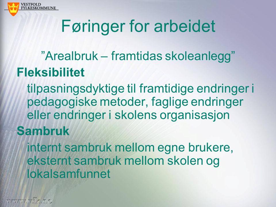 """Føringer for arbeidet """"Arealbruk – framtidas skoleanlegg"""" Fleksibilitet tilpasningsdyktige til framtidige endringer i pedagogiske metoder, faglige end"""