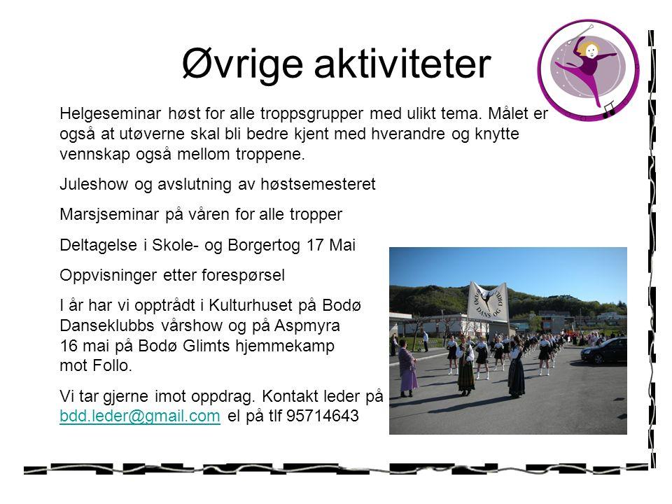 Øvrige aktiviteter Helgeseminar høst for alle troppsgrupper med ulikt tema.