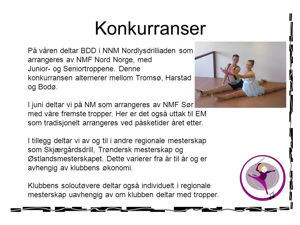 Konkurranser På våren deltar BDD i NNM Nordlysdrilliaden som arrangeres av NMF Nord Norge, med Junior- og Seniortroppene.