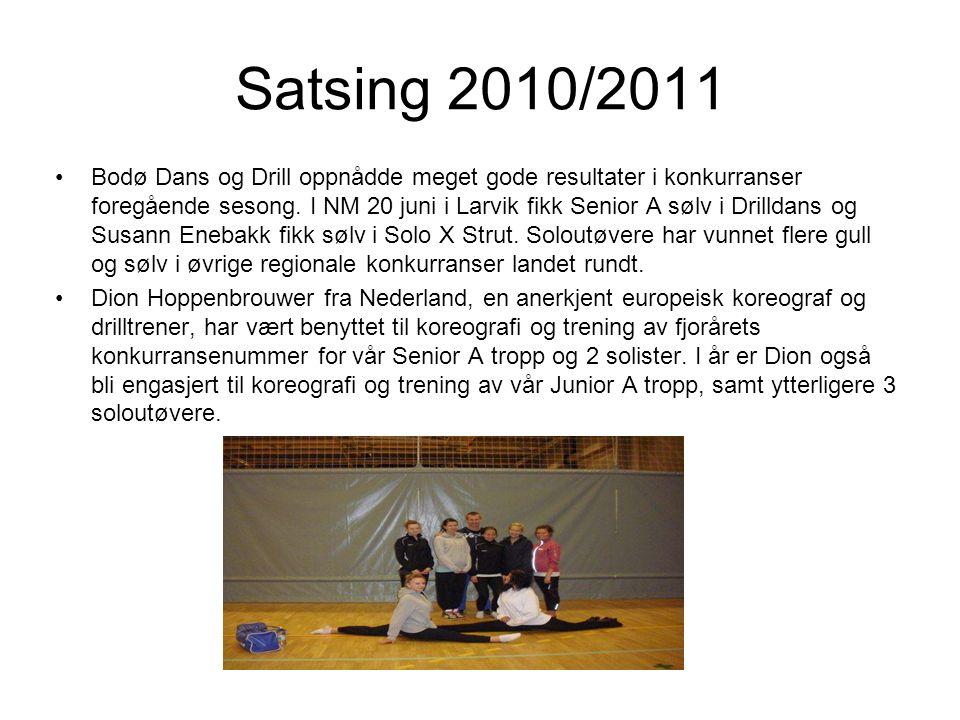 Satsing 2010/2011 Bodø Dans og Drill oppnådde meget gode resultater i konkurranser foregående sesong.