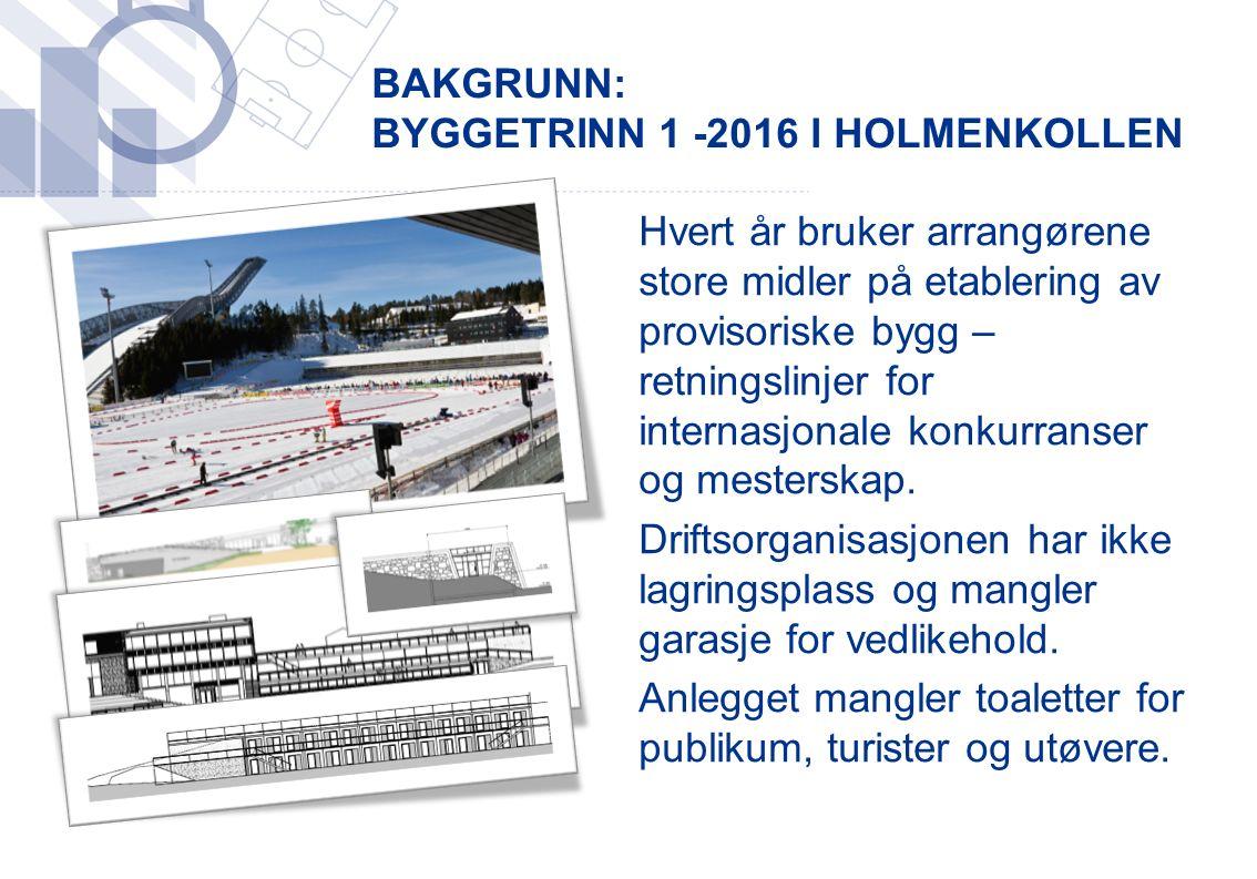 BAKGRUNN: BYGGETRINN 1 -2016 I HOLMENKOLLEN  Hvert år bruker arrangørene store midler på etablering av provisoriske bygg – retningslinjer for internasjonale konkurranser og mesterskap.
