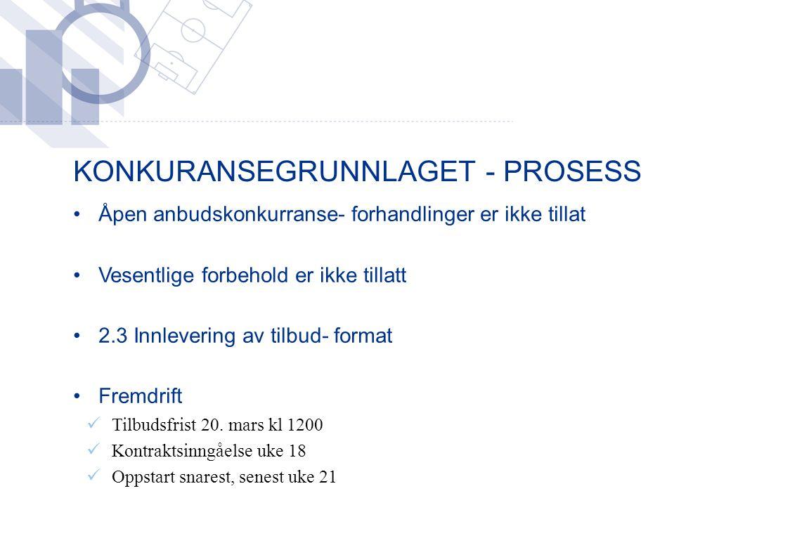 KONKURANSEGRUNNLAGET - PROSESS Åpen anbudskonkurranse- forhandlinger er ikke tillat Vesentlige forbehold er ikke tillatt 2.3 Innlevering av tilbud- format Fremdrift Tilbudsfrist 20.