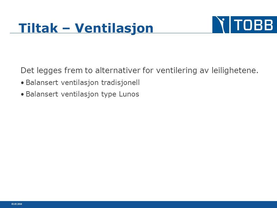 Balansert ventilasjon tradisjonell Balansert ventilasjon type Lunos 03.05.2016 Tiltak – Ventilasjon