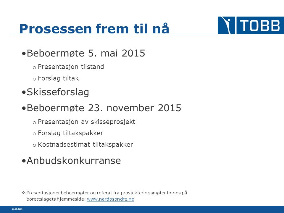 Beboermøte 5. mai 2015 o Presentasjon tilstand o Forslag tiltak Skisseforslag Beboermøte 23. november 2015 o Presentasjon av skisseprosjekt o Forslag
