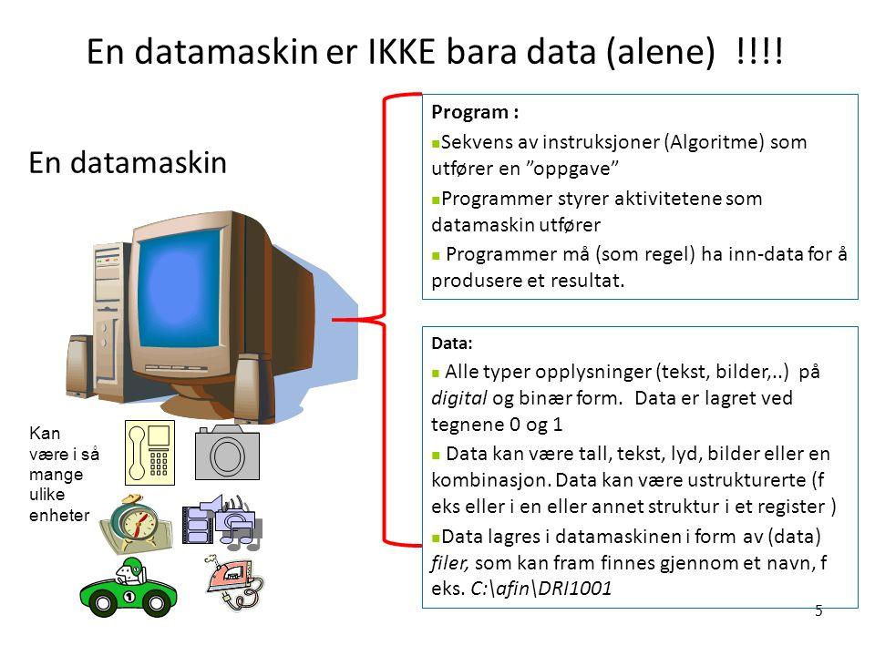 Formalisering og datamaskinprogrammer Datamaskiner skal utføre nøyaktig det som da(maskin)programmet gir instrukser om å gjøre (og bare det, heldigvis) –Forutsetter at instruksjonene er entydige –Forutsetter at dataene kan tolkes entydig –Forutsetter at det ikke er feil i programmer eller data Vi må derfor formulere instruksjoner på en formalisert form, dvs.