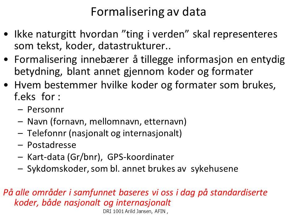 DRI1001 Høst 2014 Arild Jansen 8 Noen typer informasjonssystemer i forvaltningen (1) Intern-administrative systemer (økonomi/regnskap, arkiv…) Fagsystemer: Beslutnings(støtte)-systemer knyttet til spesifikt regelverk, f eks.