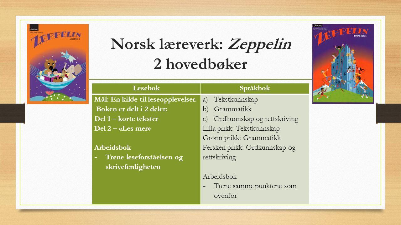 Norsk læreverk: Zeppelin 2 hovedbøker LesebokSpråkbok Mål: En kilde til leseopplevelser.
