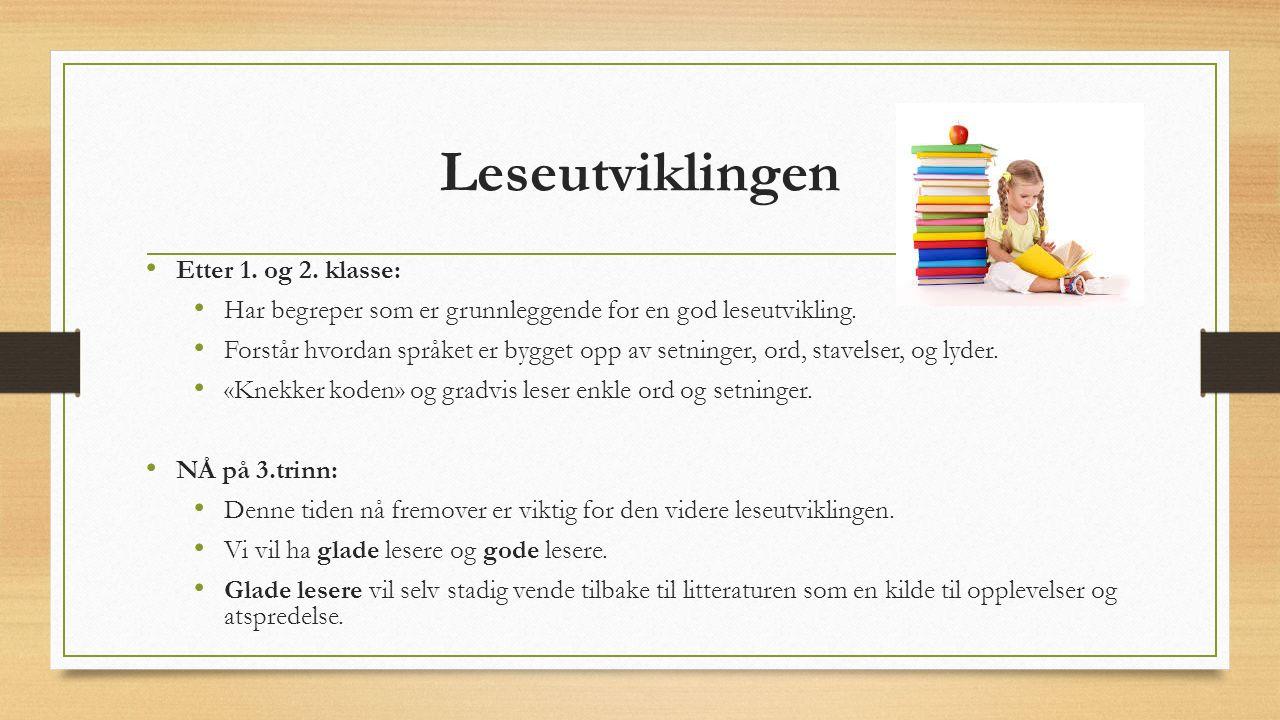 Leseutviklingen Etter 1. og 2. klasse: Har begreper som er grunnleggende for en god leseutvikling.