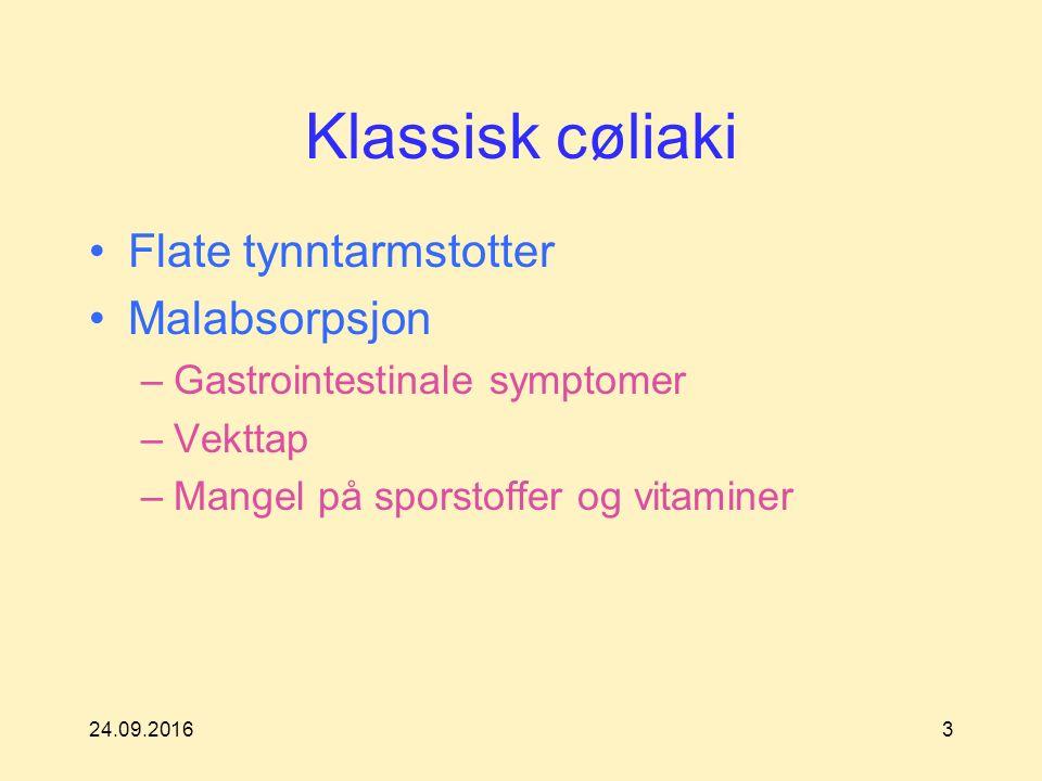 24.09.20163 Klassisk cøliaki Flate tynntarmstotter Malabsorpsjon –Gastrointestinale symptomer –Vekttap –Mangel på sporstoffer og vitaminer