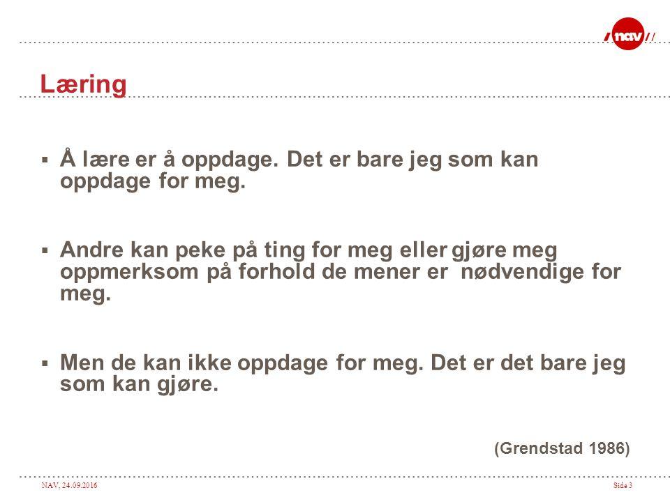 NAV, 24.09.2016Side 3 Læring  Å lære er å oppdage.