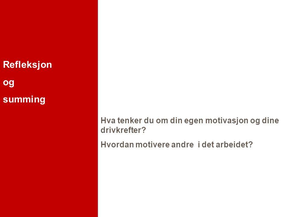 Refleksjon og summing Hva tenker du om din egen motivasjon og dine drivkrefter.