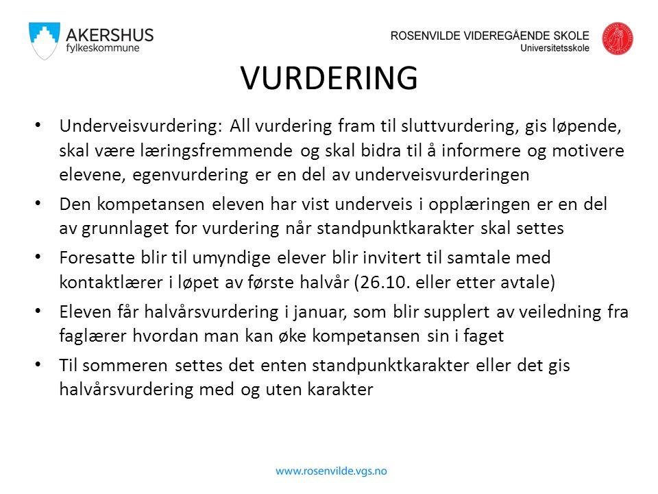 VURDERING Underveisvurdering: All vurdering fram til sluttvurdering, gis løpende, skal være læringsfremmende og skal bidra til å informere og motivere