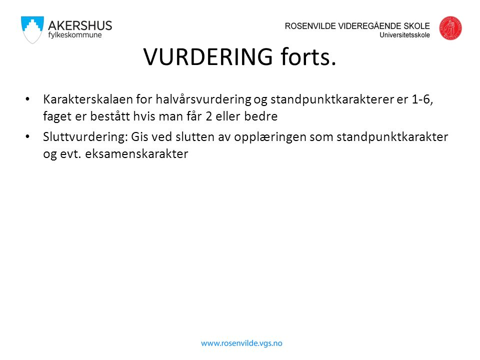 VURDERING forts.